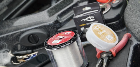 Photograph of Seaguar fluorocarbon products on the deck of a bass boat