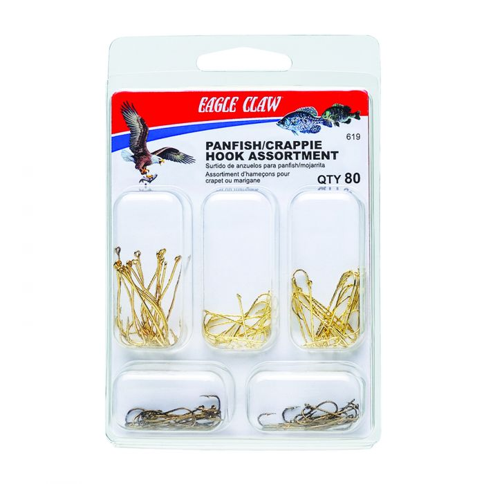 Eagle Claw 619H Panfish/Crappie 80-Piece Assorted Hook Kit Default Title
