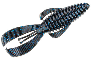 Strike King Rage Magnum Bug 4 1/2 inch Soft Plastic Creature 6 pack Black Blue Flake