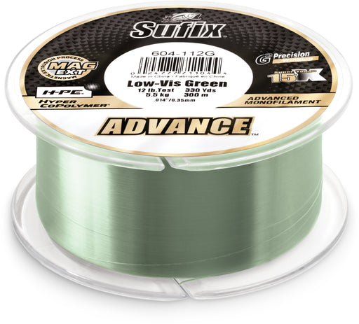 Sufix Advance Lo-Vis Green Monofilament 250-330 Yard Spools 4 pound - 330 yards