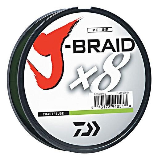 Daiwa J-Braid X8 Braided Line 165 Yards Chartreuse 8 LB