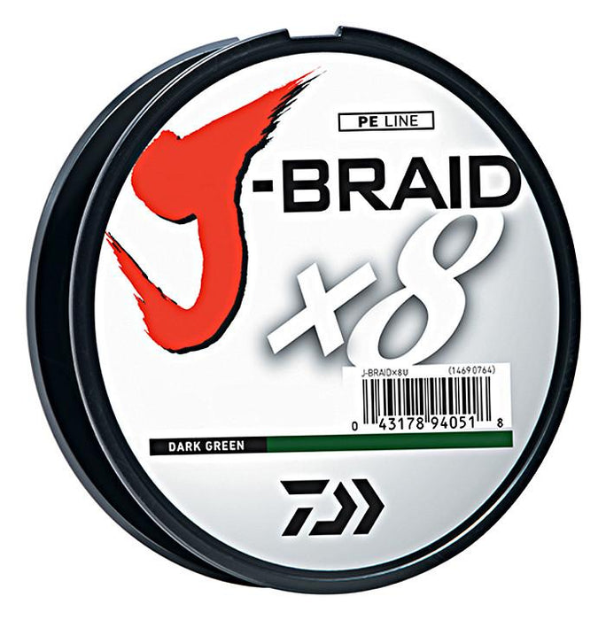 Daiwa J-Braid X8 Braided Line 330 Yards Dark Green 8 LB