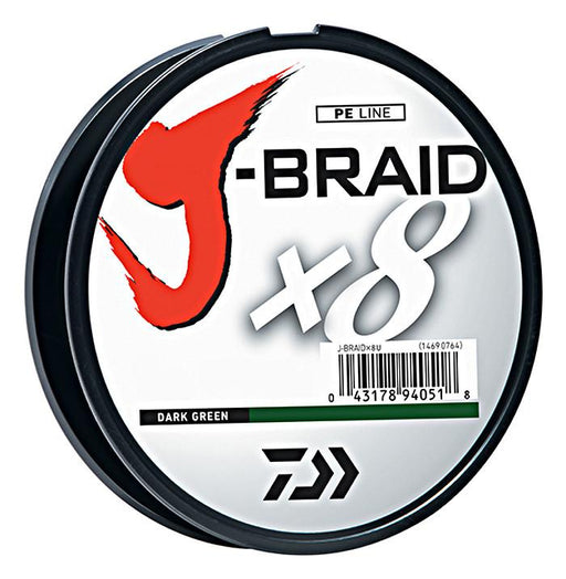 Daiwa J-Braid X8 Braided Line 165 Yards Dark Green 8 LB