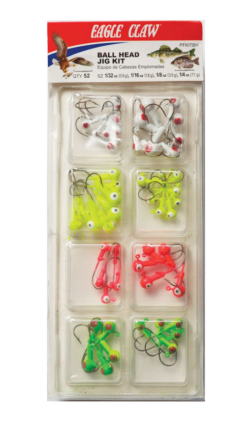 Eagle Claw Ball Head Jig Kit 52-Piece Jighead Assortment