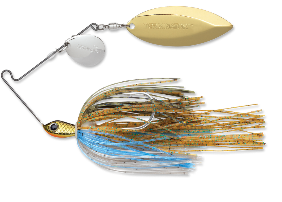 Terminator Stainless Pulse Skirt Spinnerbait Colorado Willow 1/2 Oz. Bluegill Nickel Gold