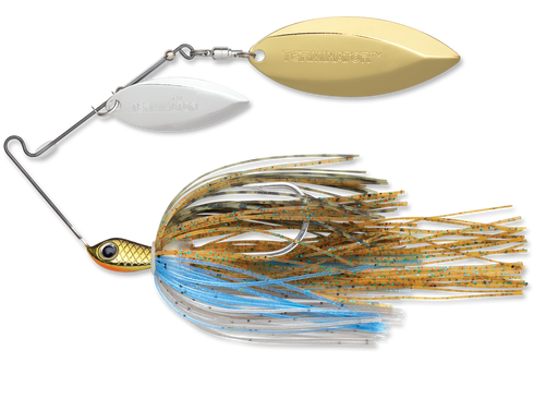 Terminator Stainless Pulse Skirt Spinnerbait Double Willow 1/2 Oz. Bluegill Nickel Gold