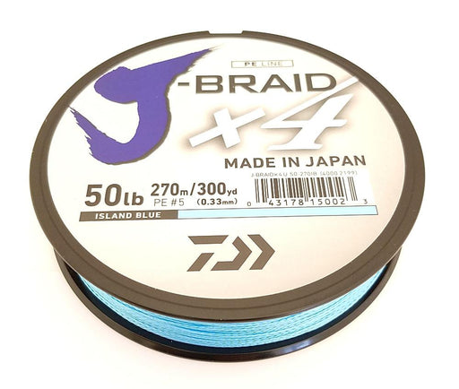 Daiwa J-Braid X4 Braided Line 300 Yards Island Blue 10 LB