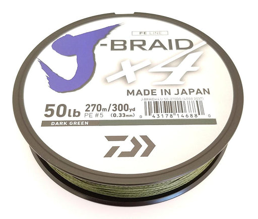 Daiwa J-Braid X4 Braided Line 300 Yards Dark Green 6 LB