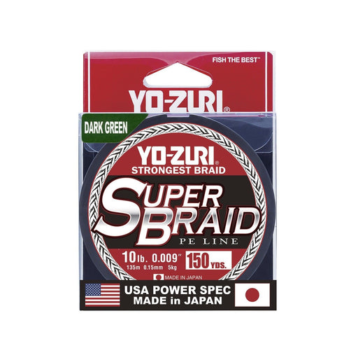 Yo-Zuri Superbraid Dark Green 150 Yards Braided Fishing Line 10 pound