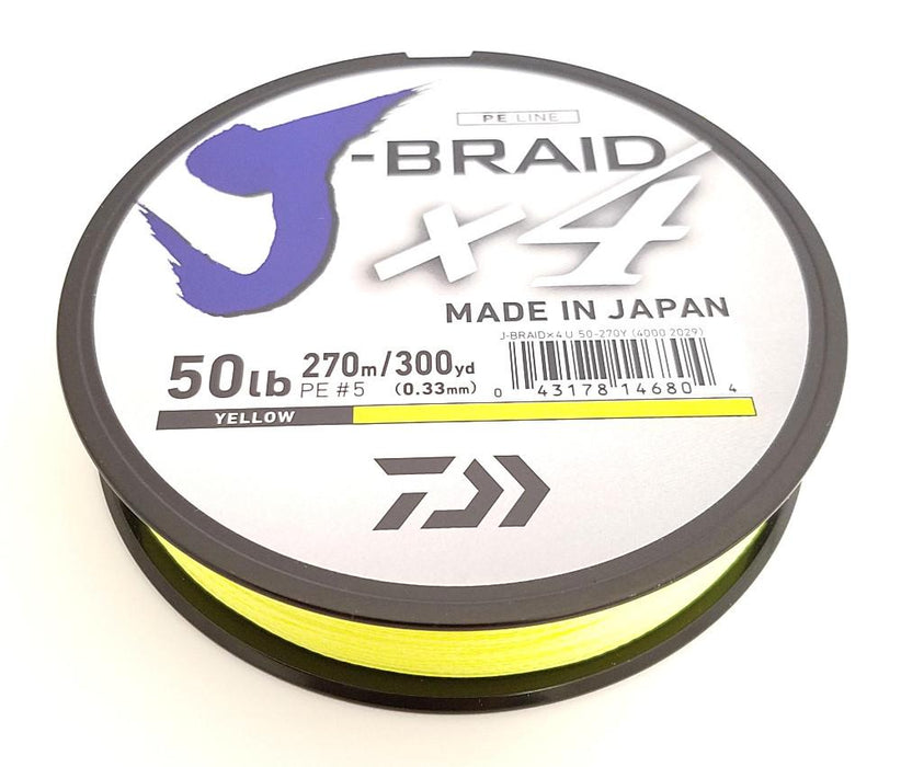 Daiwa J-Braid X4 Braided Line 300 Yards Fluorescent Yellow 6 LB