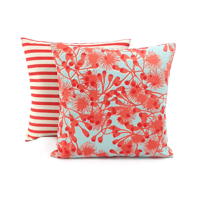 Gumblossom Coral Sky - upholstery linen