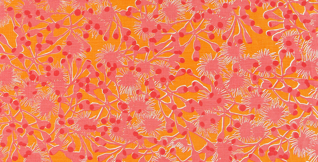 Gumblossom Pink Orange - heavyweight fabric on the roll
