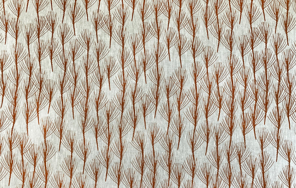 Twig of Conifer Russet - midweight linen cut piece - 60cm x 147cm