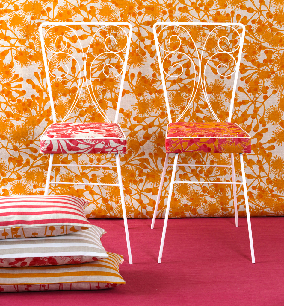 Gumblossom Hot Orange - upholstery linen