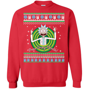 Rick and Morty Peace Among worlds Christmas sweater