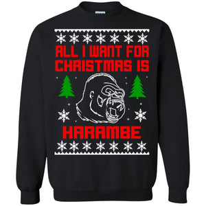 All I Want For Christmas Is HarambeT Rex Attack Reindeer ugly sweater