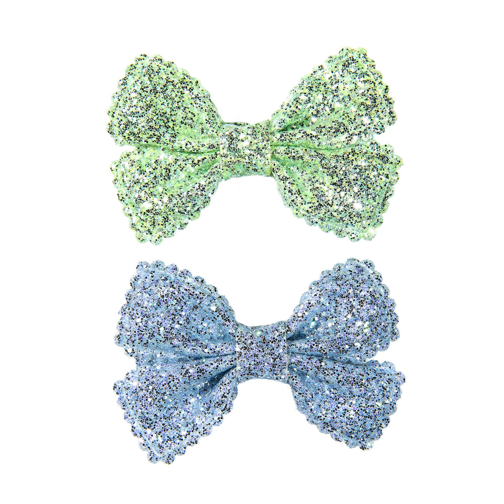 SMALL GLITTER BOWS - MINT & BABY BLUE