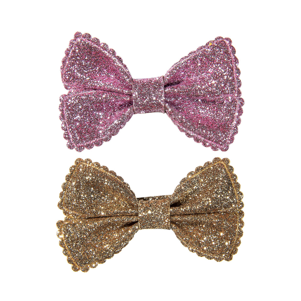 SMALL GLITTER BOWS - PINK AMETHYST & GOLD