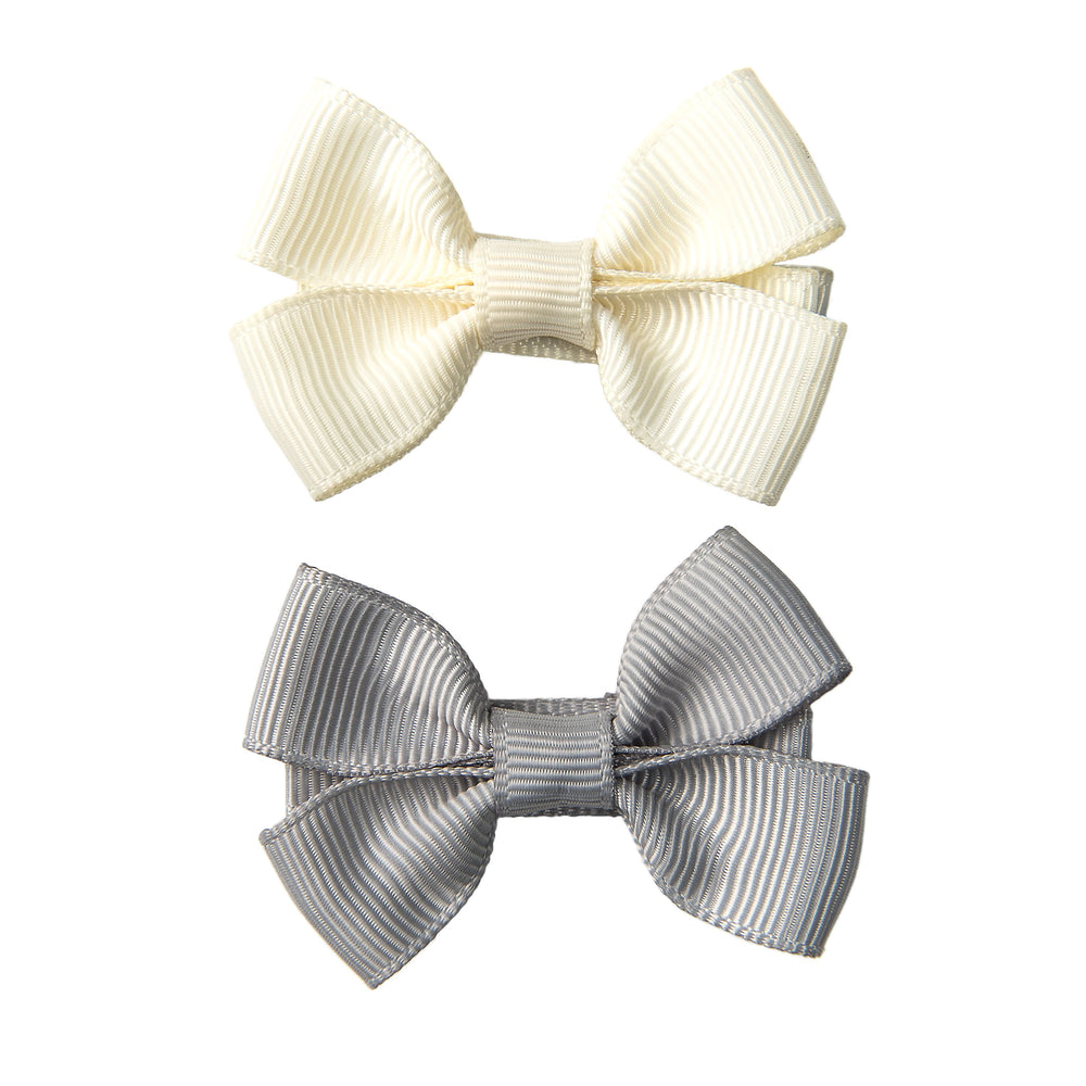 SMALL BOW CLIPS -  GREY & IVORY