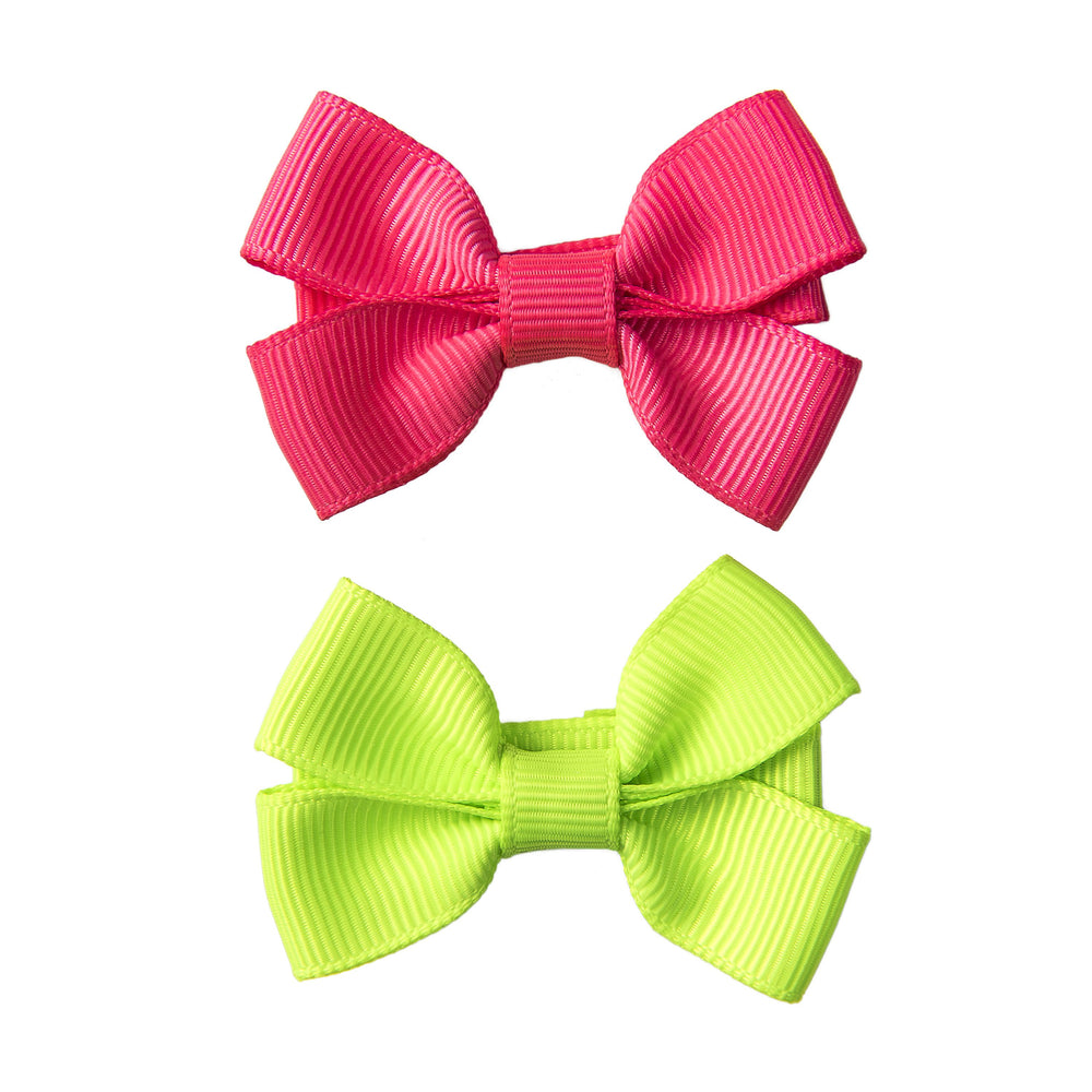 SMALL BOW CLIPS - PINK & LIME