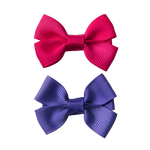 SMALL BOW CLIPS - PINK & PURPLE