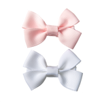 SMALL BOW CLIPS - BABY PINK & WHITE