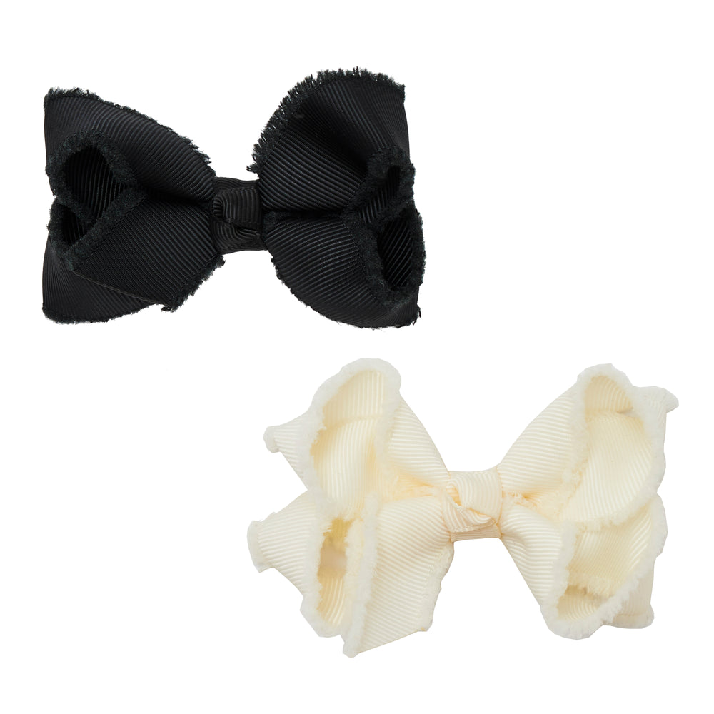 SMALL BOW SET - CREAM AND BLACK