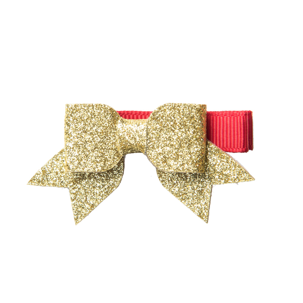 SMALL CHRISTMAS BARRETTE - BOW & HOLLY