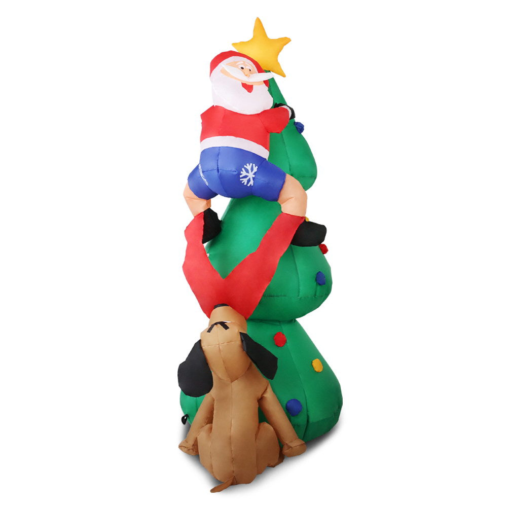 Jingle Jollys Inflatable Santa On Tree