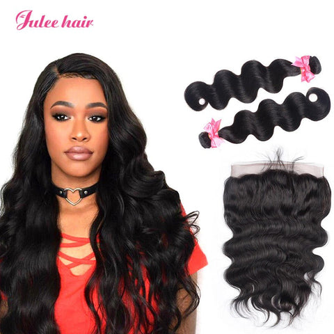 Virgin Brazilian Unprocessed Body Wave Hair 2 Bundles With 360 Lace Frontal Closure
