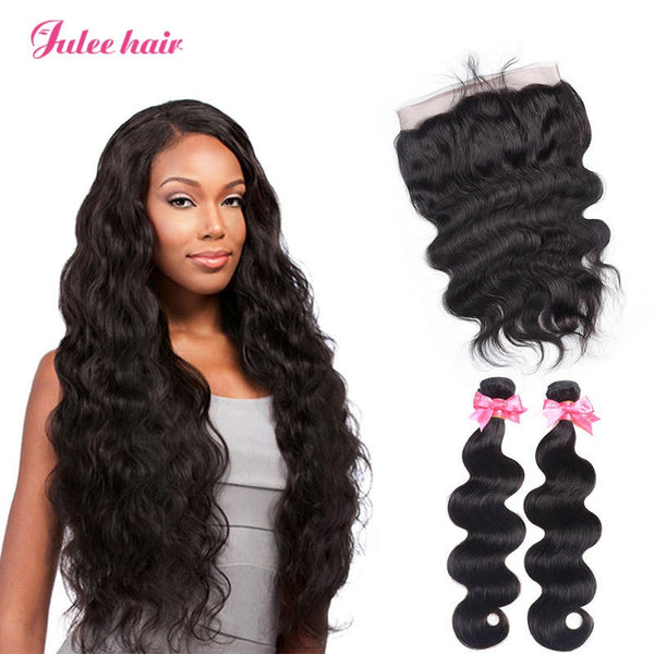 Virgin Remy Indian Body Wave Weave Hair 2 Bundles With 360 Lace Frontal Closure