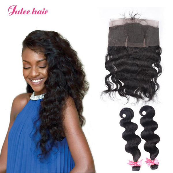Raw Virgin Human Hair Malaysian Body Wave 2 Bundles With 360 Lace Frontal