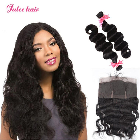Featured Virgin Human Hair Peruvian Body Wave Hair 2 Bundles With 360 Lace Frontal