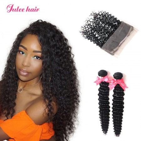 High Quality Indian Deep Wave Virgin Hair 2 Bundles with 360 Lace Frontal