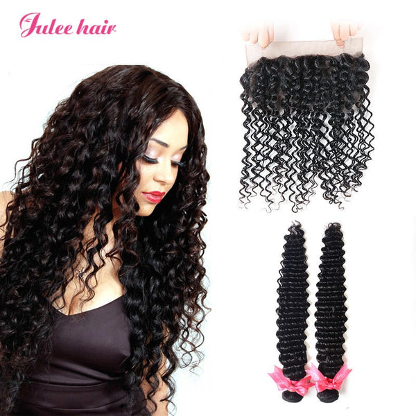 New Arrival Peruvian Deep Wave Virgin Hair 2 Bundles With 360 Lace Frontal