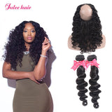 Julee Hair 2 Bundles Brazilian Loose Deep With 360 Lace Frontal