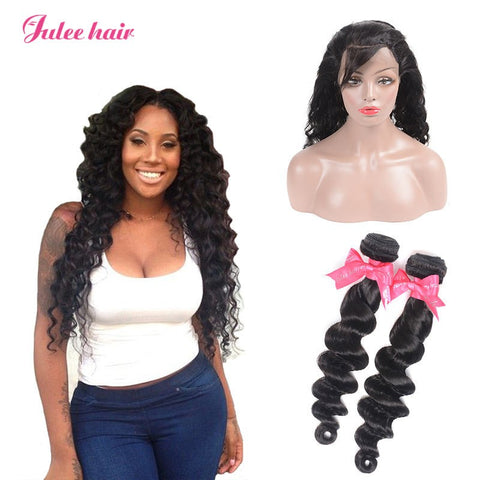 Julee Hair 2 Bundles Indian Loose Deep With 360 Lace Frontal