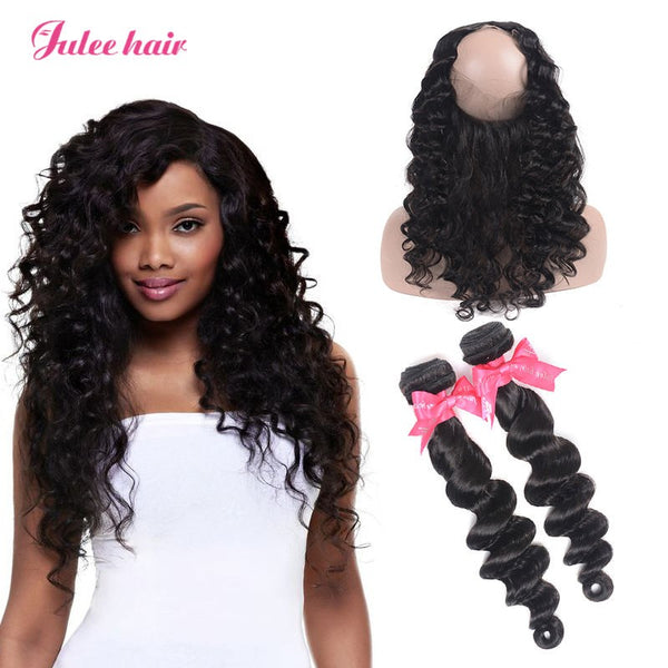 Julee Hair 2 Bundles Malaysain Loose Deep With 360 Lace Frontal