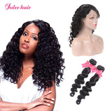 Julee Hair 2 Bundles Peruvian Loose Deep With 360 Lace Frontal