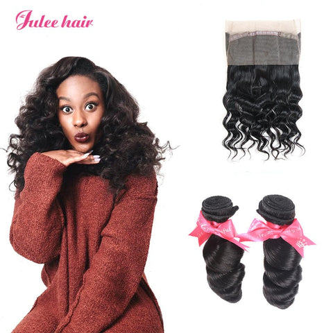 Best Selling Virgin Brazilian Loose Wave 2 Bundles With 360 Lace Frontal