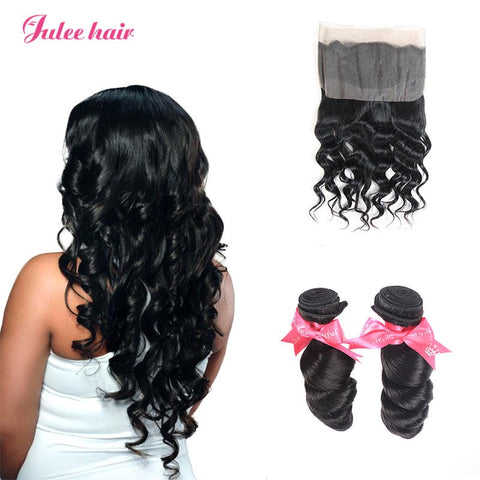 Best Selling 2 Bundles Indian Loose Wave With 360 Lace Frontal,Ear To Ear 360 Frontal