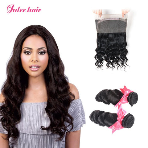 High Quality Malaysian Loose Wave Virgin Hair 2 Bundles With 360 Lace Frontal