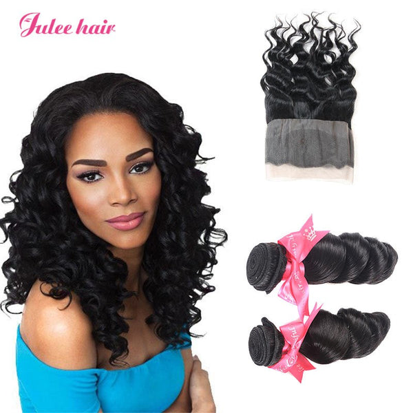 High Quality Peruvian Loose Wave Virgin Hair 2 Bundles With 360 Lace Frontal