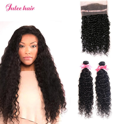 Hot Selling Brazilian Virgin Human 2 Natural Wave Weave Bundles With 360 Lace Frontal