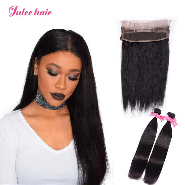 Most Popular Virgin Brazilian Straight Hair 2 Bundles With 360 Lace Frontal