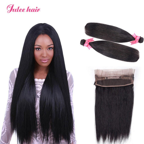 Real Virgin Indian Straight Hair Weave 2 Bundles With 360 Lace Frontal Closure