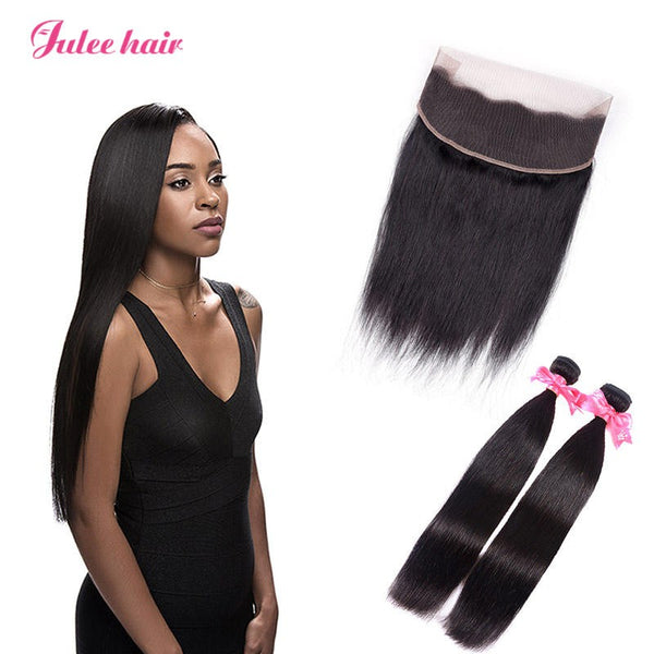 Fashion Malaysian Straight Virgin Hair 2 Bundles With 360 Lace Frontal Closure