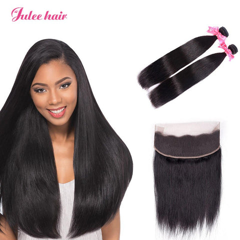 Fashion Trend Virgin Peruvian Straight Hair 2 Bundles With 360 Lace Frontal
