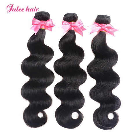 Julee Hair Cheap Virgin Brazilian Body Wave Hair 3 Bundles Deal 1b#