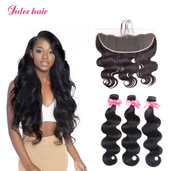 Most Popular 8A Brazilian Body Wave Hair 3 Bundles With 13*4 Lace Frontal